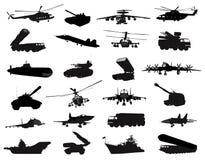 Siluetas militares fijadas stock de ilustración