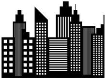 Siluetas modernas de los rascacielos del horizonte de la ciudad