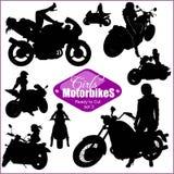 Siluetas - mujer y motos - sistema del vector Aislado en blanco libre illustration