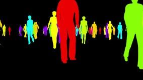 Siluetas multicoloras de la gente que camina en un fondo negro libre illustration