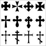 Siluetas negras de cruces: Católico, cristiano, Celtic, pagano Fotografía de archivo libre de regalías