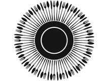 Siluetas negras de los cubiertos alrededor de la placa Imagenes de archivo