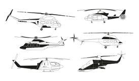 Siluetas negras de los helicópteros Imágenes del vector del transporte del avia ilustración del vector