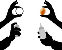 Siluetas negras de manos stock de ilustración