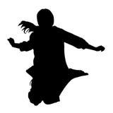 Siluetas negras de una muchacha que salta con el pelo que fluye aislado en el fondo blanco Fotografía de archivo