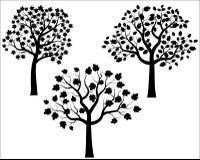 Siluetas negras del árbol del vector Imagenes de archivo
