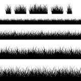 Siluetas negras inconsútiles de la hierba ilustración del vector
