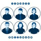 Siluetas planas de los hombres de negocios para la imagen del perfil de usuario Foto de archivo