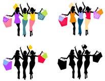Siluetas que hacen compras 2 de las mujeres Imágenes de archivo libres de regalías