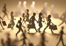 Siluetas que hacen compras de la gente ocupada Fotografía de archivo libre de regalías