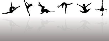 Siluetas rítmicas de los gimnastas Fotos de archivo