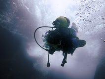 Siluetas subacuáticas del buceador contra el sol Fotos de archivo