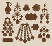 Siluetas viejas de la joyería y de los tesoros Imagenes de archivo
