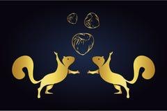 Siluetas y avellanas de salto de las ardillas aisladas en fondo oscuro Logotipo de ardillas con tres nueces en color de oro Squir ilustración del vector
