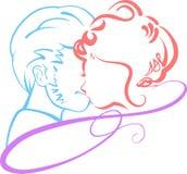 Siluete de couples de Valentine Images libres de droits