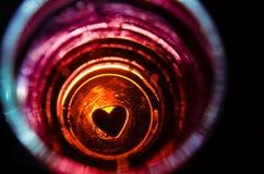 Siluetea el corazón en el vidrio Fotos de archivo