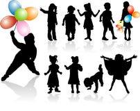Siluetea a niños Imágenes de archivo libres de regalías