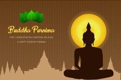 Siluetee al monje feliz del purnima de Buda que el phra Buda ruega el frente compuesto concentración del lanzamiento de la fe de  ilustración del vector