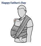 Siluetee al padre del bebé en una honda ejemplo feliz del vector del día del ` s del padre de la inscripción Fotos de archivo libres de regalías