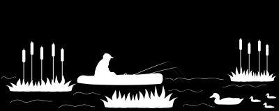 Siluetee al pescador en el lago stock de ilustración