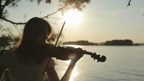 Siluetee al violinista de la muchacha que toca el violín en la puesta del sol en el lago metrajes