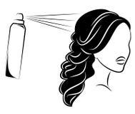 Siluetee de una cabeza de la se?ora s La muchacha en el sal?n de belleza Una mujer hace su pelo, barniza su pelo Ilustraci?n del  ilustración del vector