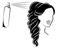 Siluetee de una cabeza de la se?ora s La muchacha en el sal?n de belleza Una mujer hace su pelo, barniza su pelo Ilustraci?n del  stock de ilustración