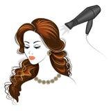 Siluetee de una cabeza de la se?ora s La muchacha en el sal?n de belleza Una mujer hace su pelo, se seca el pelo con un secador d stock de ilustración