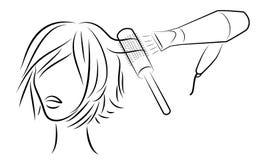 Siluetee de una cabeza de la se?ora s La muchacha en el sal?n de belleza Una mujer hace su pelo, se seca el pelo con un secador d libre illustration