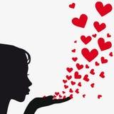 Siluetee el corazón que sopla de la mujer stock de ilustración