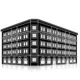 Siluetee el edificio de oficinas con una entrada y una reflexión Imagenes de archivo