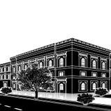 Siluetee el edificio de oficinas con una entrada y una reflexión fotografía de archivo