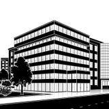 Siluetee el edificio de oficinas con una entrada y una reflexión Foto de archivo