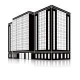 Siluetee el edificio de oficinas con una entrada y una reflexión Imagen de archivo