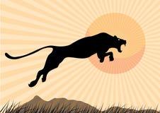 Siluetee el guepardo, pantera, diseño usando la línea negra cuadrado, gráfico Fotografía de archivo