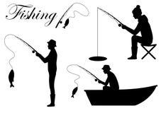 siluetee el icono del pescador, pescado de la catedral del hombre en la caña de pescar stock de ilustración