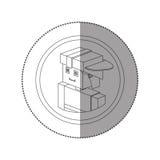 Siluetee el lego de la etiqueta engomada con el bombero del retrato con el casco Fotos de archivo libres de regalías