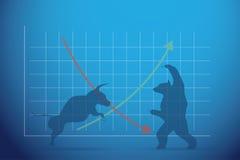 Siluetee el toro y el oso con el gráfico, el mercado de acción y el concepto financieros del negocio Fotografía de archivo libre de regalías