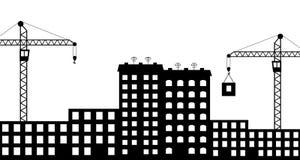 Siluetee la construcción de la ciudad.