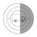 Siluetee la etiqueta engomada con forma circular con el camión y el carro Foto de archivo libre de regalías