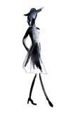 Siluetee la figura de una muchacha dibujada en tinta Foto de archivo