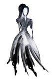 Siluetee la figura de una muchacha dibujada en tinta Imagenes de archivo