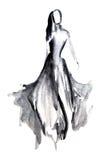 Siluetee la figura de una muchacha dibujada en tinta Imágenes de archivo libres de regalías