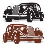 Siluetee la máquina retra, negra y marrón, en el fondo blanco, stock de ilustración