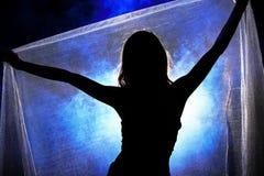 Siluetee la sombra de la mujer en estilo de pelo de la onda con la red de plata Fotografía de archivo