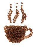 Siluetee las tazas de granos de café en el blanco Fotos de archivo libres de regalías
