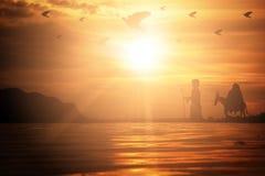 Siluetee Maria y a José que viajan con un burro en lo de la puesta del sol stock de ilustración