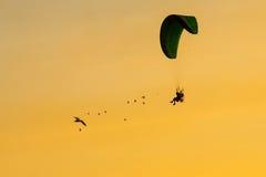 Siluetee Paramotor, paracaídas, vuelo de Paraglide en la puesta del sol Imagen de archivo
