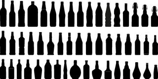 Siluetta 1 (+vector) delle bottiglie Immagine Stock