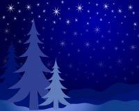 Siluetta 2 dell'albero di Natale Fotografia Stock